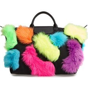 Longchamp x JeremyScott LePliage Neon Fur Tote NWT